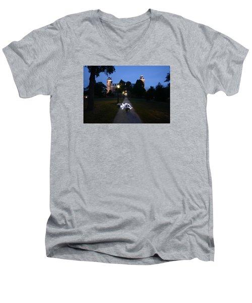 University Of Arkansas Men's V-Neck T-Shirt by Chris  Look