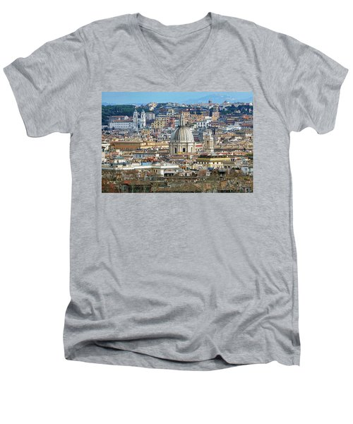 View Of Rome Italy From Atop Gianicolo Hill Men's V-Neck T-Shirt