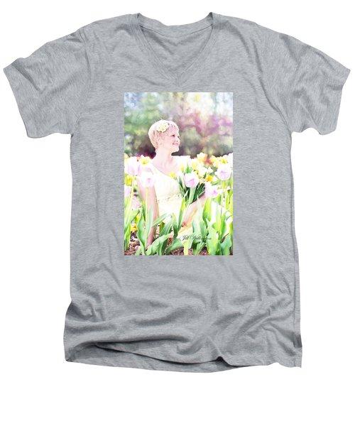 Vintage Val Spring Tulips Men's V-Neck T-Shirt