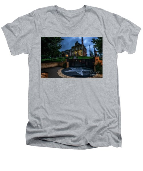 Men's V-Neck T-Shirt featuring the photograph Webster County Courthouse by Thomas R Fletcher