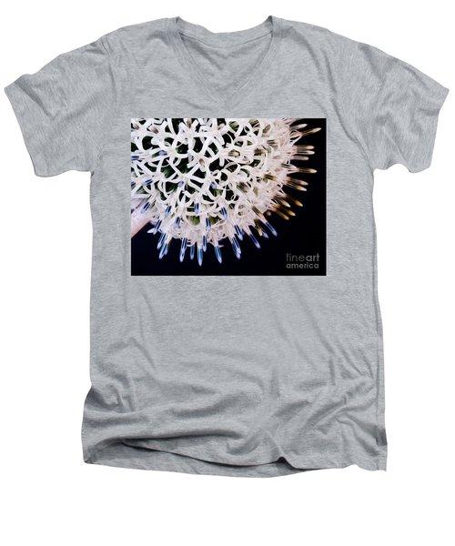 White Alium Onion Flower Men's V-Neck T-Shirt by Colin Rayner