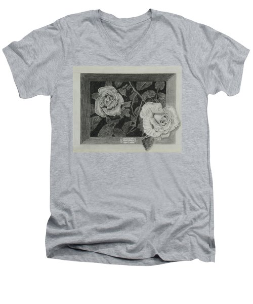 Men's V-Neck T-Shirt featuring the drawing 2 White Roses by Quwatha Valentine
