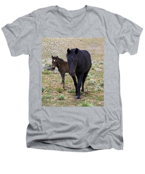 Wild Mustang Mare And Foal Men's V-Neck T-Shirt