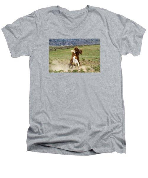 Wild Mustang Stallions Fighting Men's V-Neck T-Shirt