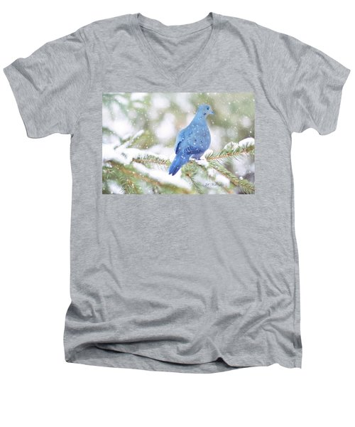 Winter Birds Men's V-Neck T-Shirt by Jill Wellington