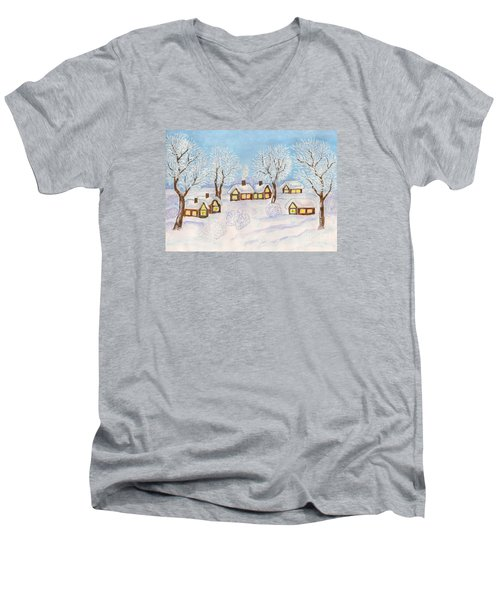 Winter Landscape, Painting Men's V-Neck T-Shirt
