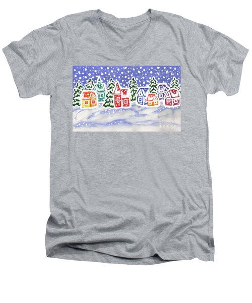Winter Landscape With Multicolor Houses, Painting Men's V-Neck T-Shirt
