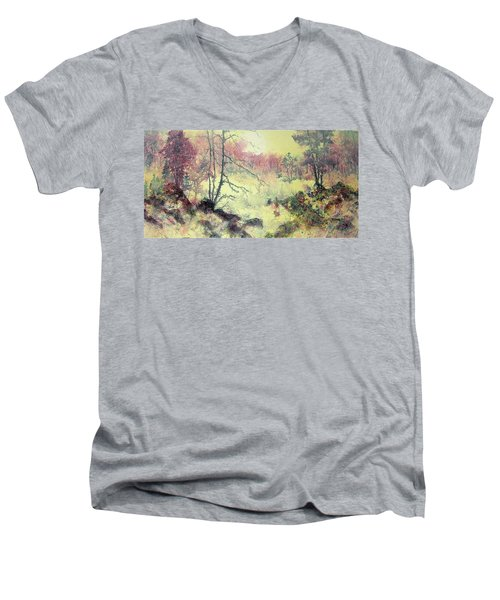 Men's V-Neck T-Shirt featuring the painting Woods And Wetlands by Carolyn Rosenberger