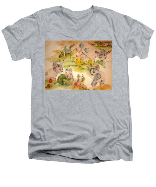 World Of Guinea Pigs And Naked Cats Album Men's V-Neck T-Shirt by Debbi Saccomanno Chan