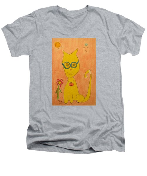 Yellow Cat With Glasses Men's V-Neck T-Shirt