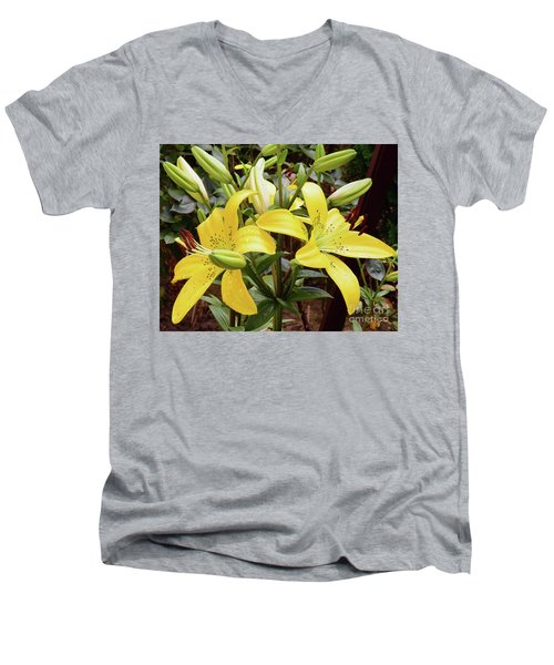 Men's V-Neck T-Shirt featuring the photograph Yellow Lily by Elvira Ladocki