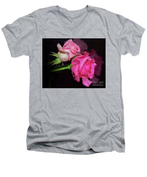 Two Roses Men's V-Neck T-Shirt by Elvira Ladocki