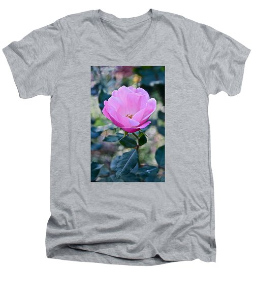 2015 After The Frost At The Garden Pink  Rose Men's V-Neck T-Shirt by Janis Nussbaum Senungetuk