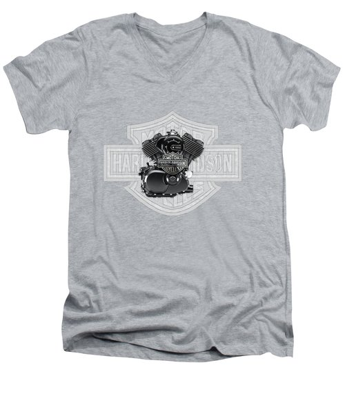 Men's V-Neck T-Shirt featuring the digital art 2015 Harley-davidson Street-xg750 Engine With 3d Badge  by Serge Averbukh