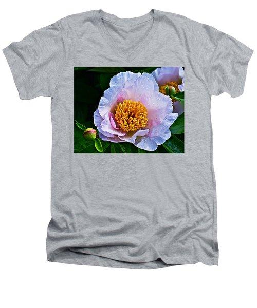 2015 Spring At The Garden White Peony  Men's V-Neck T-Shirt