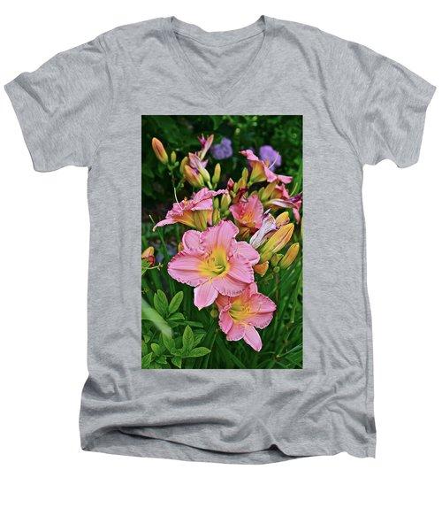 2015 Summer At The Garden Daylilies 1 Men's V-Neck T-Shirt