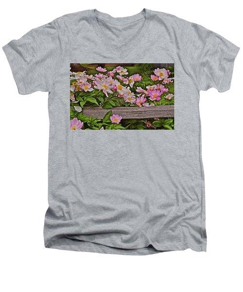 2015 Summer's Eve Front Yard Peonies 1 Men's V-Neck T-Shirt
