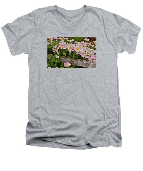 2015 Summer's Eve Neighborhood Garden Front Yard Peonies 3 Men's V-Neck T-Shirt