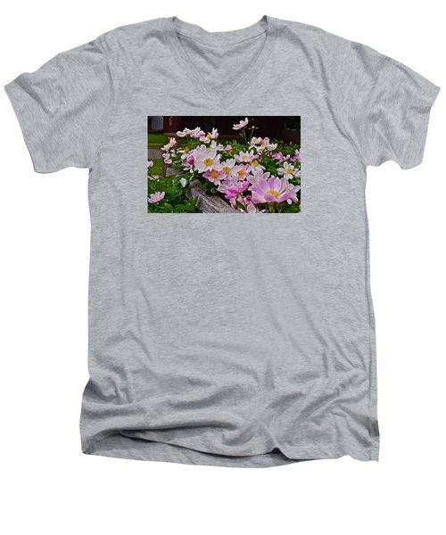 2015 Summer's Eve Neighborhood Garden Front Yard Peonies 4 Men's V-Neck T-Shirt