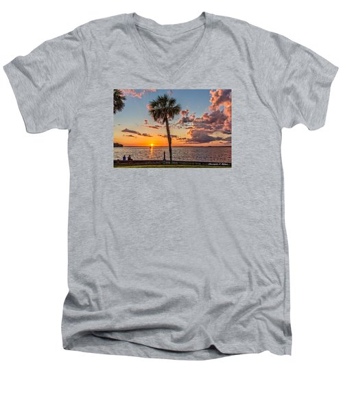 Men's V-Neck T-Shirt featuring the photograph Sunset Over Lake Eustis by Christopher Holmes