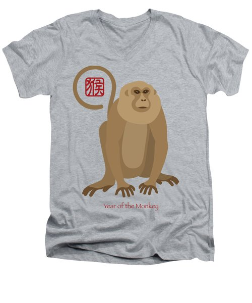 2016 Chinese New Year Of The Monkey Men's V-Neck T-Shirt
