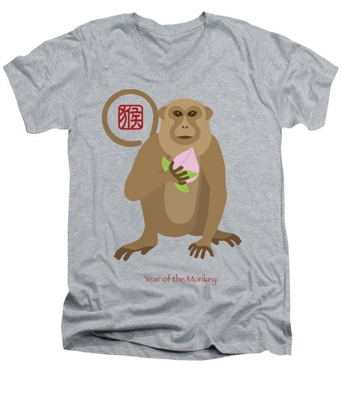 2016 Chinese Year Of The Monkey With Peach Men's V-Neck T-Shirt by Jit Lim