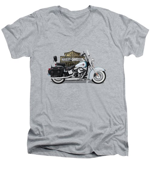 Men's V-Neck T-Shirt featuring the digital art 2017 Harley-davidson Heritage Softail Classic  Motorcycle With 3d Badge Over Vintage Background  by Serge Averbukh