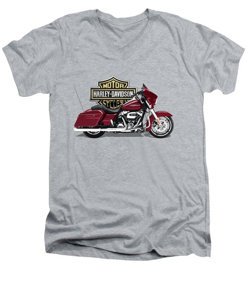 Men's V-Neck T-Shirt featuring the digital art 2017 Harley-davidson Street Glide Special Motorcycle With 3d Badge Over Vintage Background  by Serge Averbukh