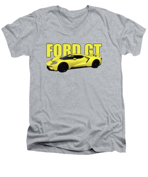 2018 Ford Gt Watercolour Whatta Ride Men's V-Neck T-Shirt