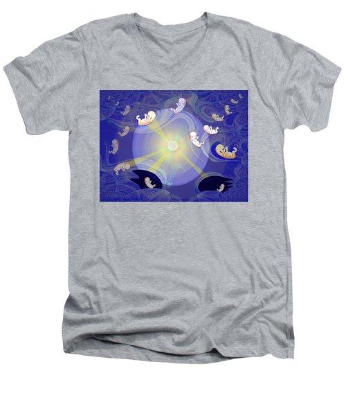 Men's V-Neck T-Shirt featuring the digital art 2041 - The Beginning 2017 by Irmgard Schoendorf Welch