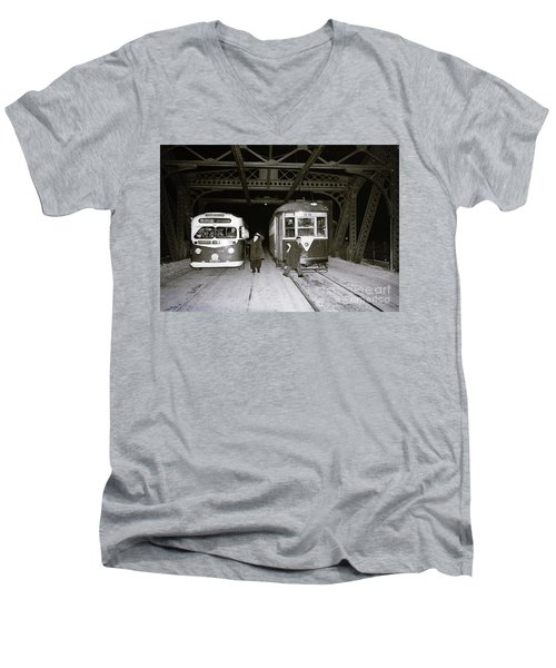 Men's V-Neck T-Shirt featuring the photograph 207th Street Crosstown Trolley by Cole Thompson