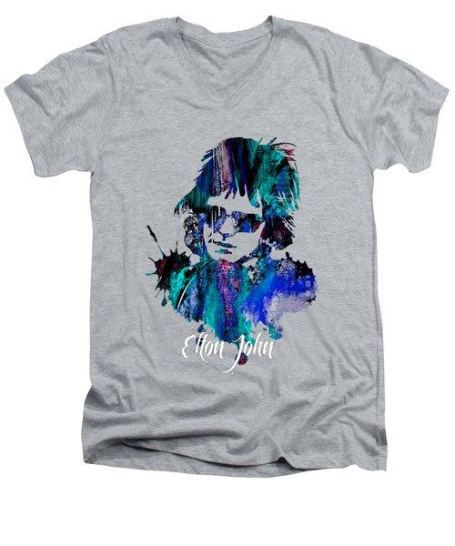 Elton John Collection Men's V-Neck T-Shirt by Marvin Blaine