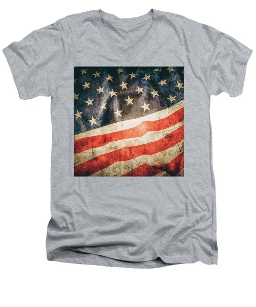 Men's V-Neck T-Shirt featuring the photograph American Flag by Les Cunliffe