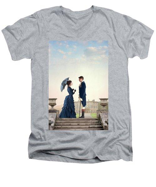 Victorian Couple  Men's V-Neck T-Shirt by Lee Avison