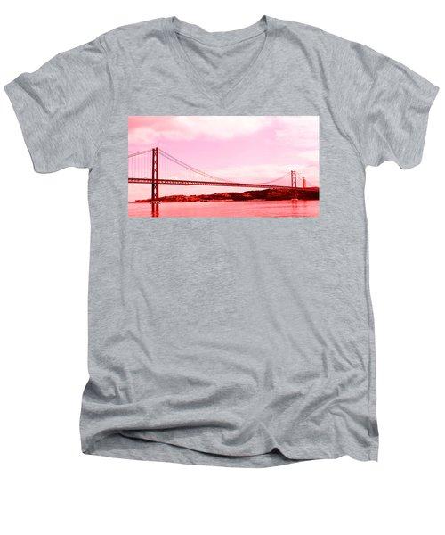 25 De Abril Bridge In Crimson Men's V-Neck T-Shirt by Lorraine Devon Wilke