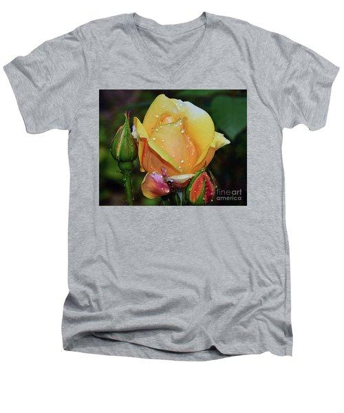 Men's V-Neck T-Shirt featuring the photograph Nice Rose by Elvira Ladocki