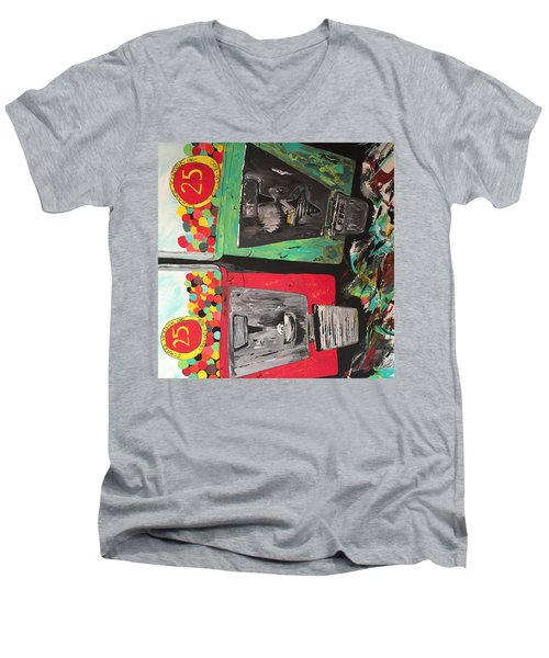 Men's V-Neck T-Shirt featuring the painting 25cts by Olivier Calas