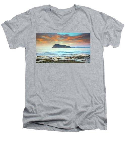 Sunrise Seascape With Clouds Men's V-Neck T-Shirt