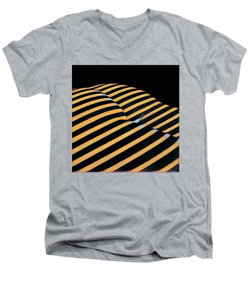 2612s-ak Abstract Rear Butt Bum Thighs Zebra Striped Woman In Composition Style Men's V-Neck T-Shirt
