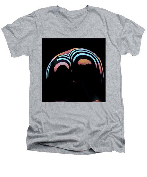 2696s-ak Zebra Striped Woman Rear View In Composition Style Men's V-Neck T-Shirt