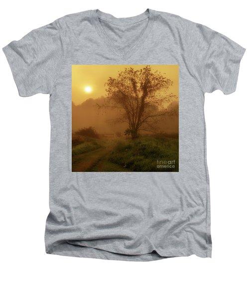 Misty Mountain Sunrise Men's V-Neck T-Shirt by Thomas R Fletcher