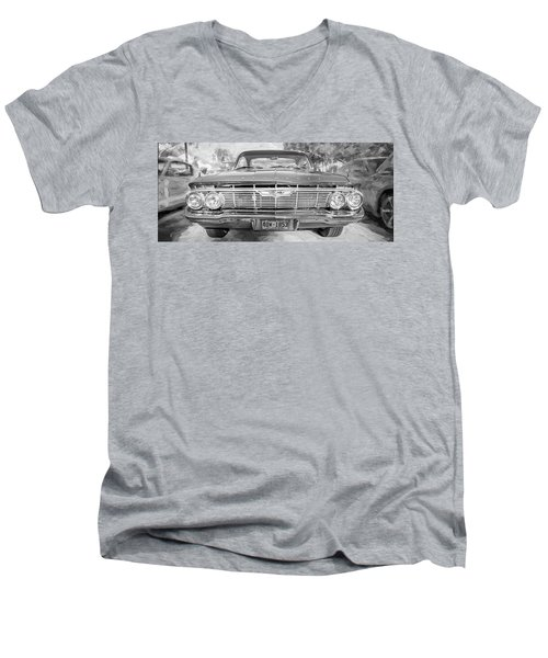 1961 Chevrolet Impala Ss Bw Men's V-Neck T-Shirt by Rich Franco