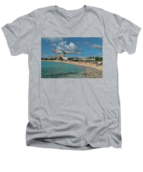 American Airlines At St. Maarten Men's V-Neck T-Shirt by David Gleeson