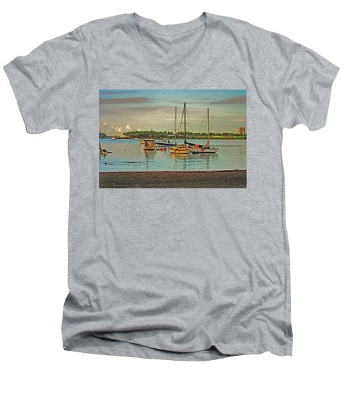 Men's V-Neck T-Shirt featuring the digital art 3- Anchored Out by Joseph Keane