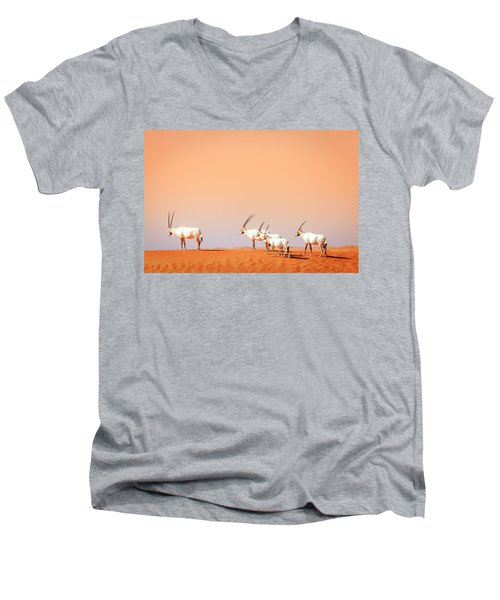 Men's V-Neck T-Shirt featuring the photograph Arabian Oryx by Alexey Stiop