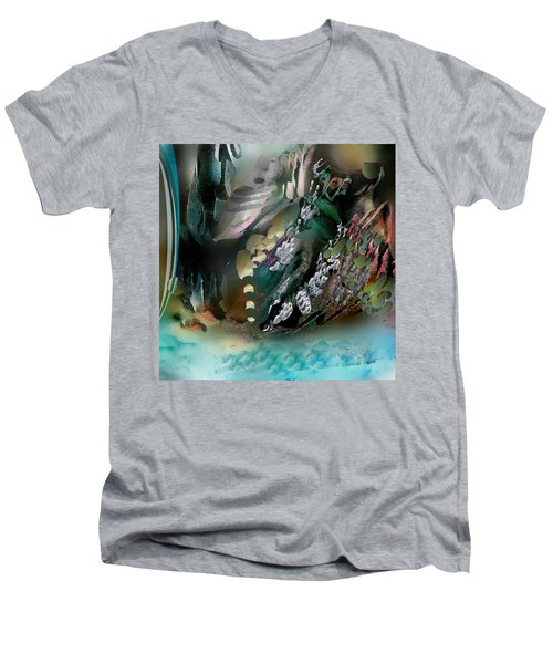 Men's V-Neck T-Shirt featuring the pastel Art Abstract by Sheila Mcdonald