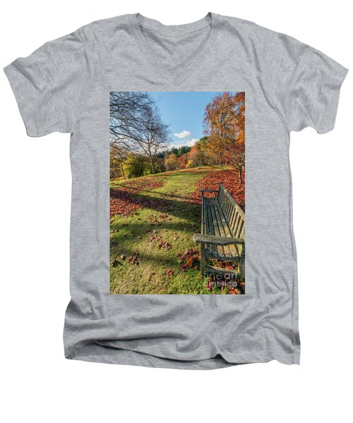 Men's V-Neck T-Shirt featuring the photograph Autumn Leaves by Adrian Evans