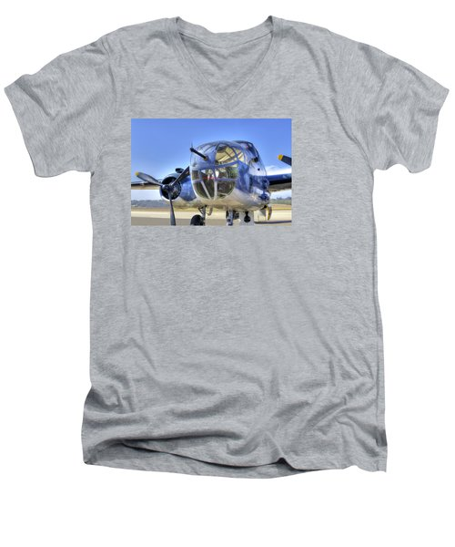 B-25 Men's V-Neck T-Shirt by Joe  Palermo
