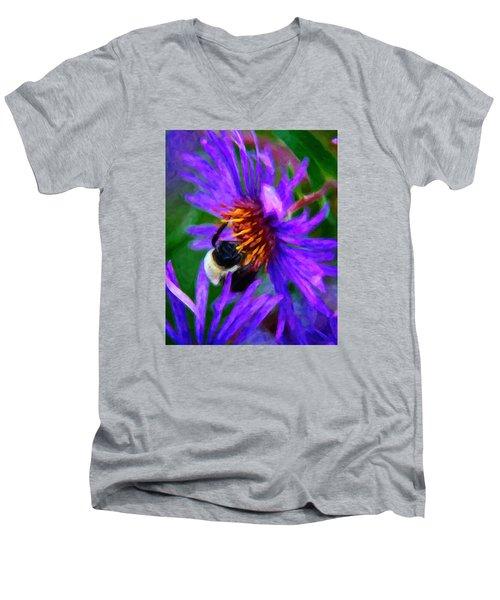 Bee On Purple Flower Men's V-Neck T-Shirt by Andre Faubert