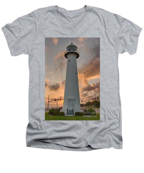 Biloxi Lighthouse Men's V-Neck T-Shirt by Brian Wright